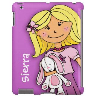 El blonde conocido del chica del niño abraza la funda para iPad