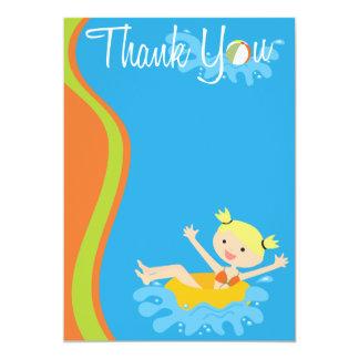 """El Blonde de la fiesta en la piscina le agradece Invitación 5"""" X 7"""""""