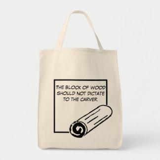 El bloque de madera no debe dictar…. bolsa tela para la compra