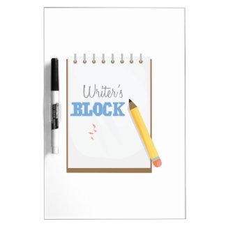 El bloque del escritor pizarra