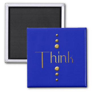 El bloque del oro de 3 puntos piensa y fondo azul imán cuadrado