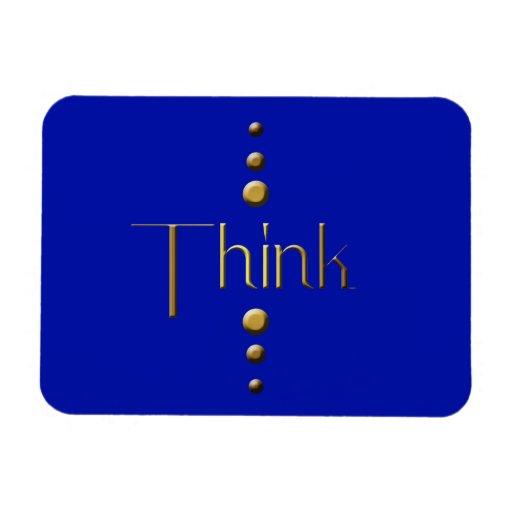 El bloque del oro de 3 puntos piensa y fondo azul iman rectangular