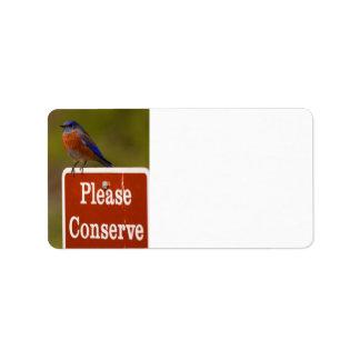El Bluebird, conserva por favor Etiqueta De Dirección