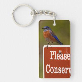 El Bluebird, conserva por favor Llavero Rectangular Acrílico A Una Cara