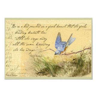 """El Bluebird en la cita de Victor Hugo de la rama Invitación 3.5"""" X 5"""""""
