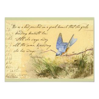 """El Bluebird en la cita de Victor Hugo de la rama Invitación 4.5"""" X 6.25"""""""