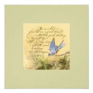 """El Bluebird en la cita de Victor Hugo de la rama Invitación 5.25"""" X 5.25"""""""