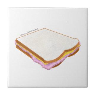 El bocadillo de jamón azulejo cuadrado pequeño
