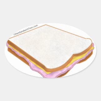 El bocadillo de jamón pegatina ovalada