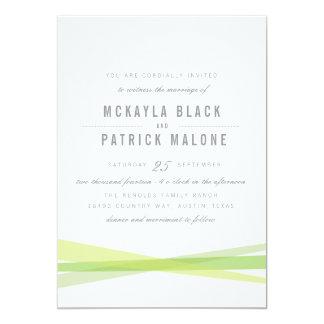 El boda abstracto invita - a verde invitación 12,7 x 17,8 cm