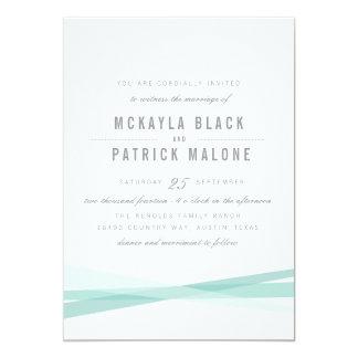El boda abstracto invita - al azul invitación 12,7 x 17,8 cm