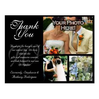 El boda adaptable le agradece cardar 3 imágenes tarjeta postal