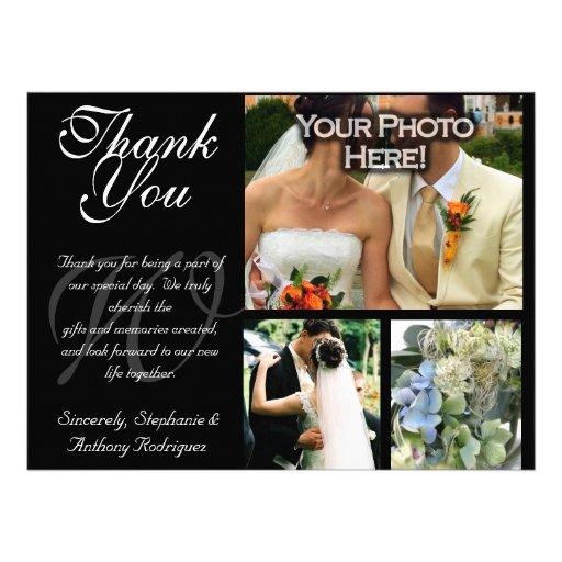 El boda adaptable le agradece tarjeta plana de 3 f invitacion personalizada