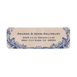 El boda adornado azul del vintage del marco le etiqueta de remitente