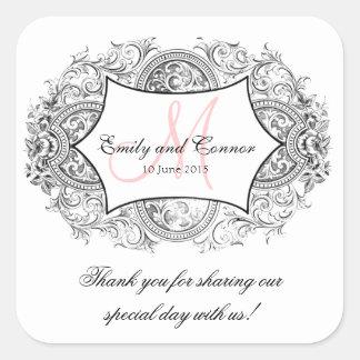El boda adornado negro del monograma del rosa del calcomanías cuadradass personalizadas