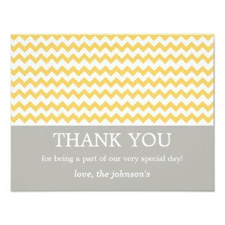 """El boda amarillo de Chevron le agradece las Invitación 4.25"""" X 5.5"""""""