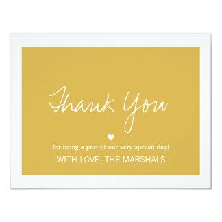 """El boda amarillo del diseño del amor le agradece invitación 4.25"""" x 5.5"""""""