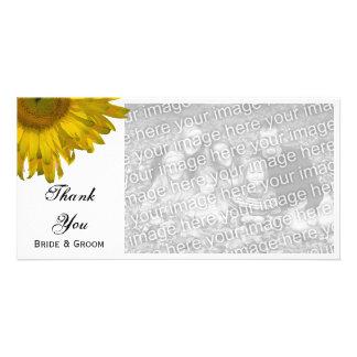El boda amarillo del girasol le agradece tarjeta fotográfica personalizada