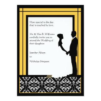 El boda amarillo negro, blanco y brillante del invitaciones personalizada