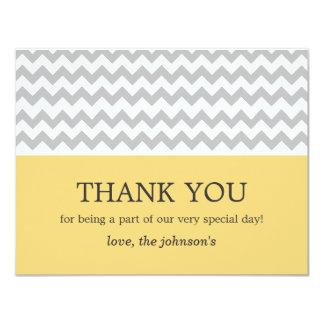 """El boda amarillo y gris de Chevron le agradece las Invitación 4.25"""" X 5.5"""""""