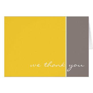 El boda amarillo y gris le agradece cardar tarjeta pequeña