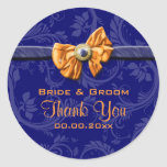 """El boda anaranjado de los azules marinos """"le pegatinas redondas"""