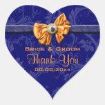 """El boda anaranjado de los azules marinos """"le pegatinas de corazon"""