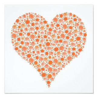 El boda anaranjado del corazón de los rosas del invitación 13,3 cm x 13,3cm