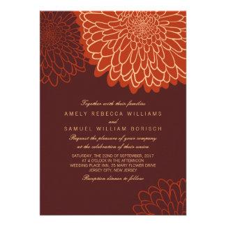El boda anaranjado del otoño de Brown del crisante Invitación Personalizada