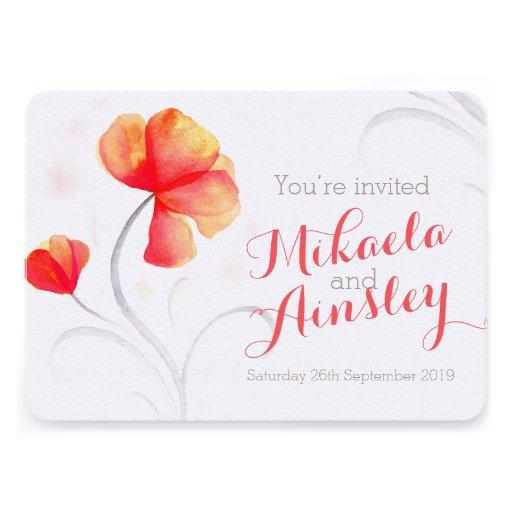 El boda anaranjado del wildflower de la acuarela i invitaciones personalizada