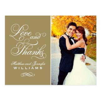 El boda antiguo del oro del amor y de las gracias postales