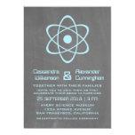 El boda atómico azul de la pizarra invita invitación 12,7 x 17,8 cm