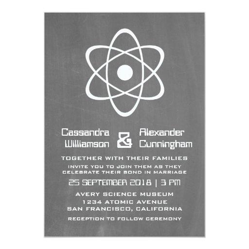 El boda atómico de marfil de la pizarra invita invitación 12,7 x 17,8 cm
