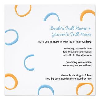 """El boda azul anaranjado pintado de los círculos invitación 5.25"""" x 5.25"""""""