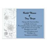 El boda azul claro y de plata de la flor invita invitación 12,7 x 17,8 cm
