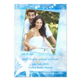 El boda azul de la foto de la playa del jardín de invitacion personalizada