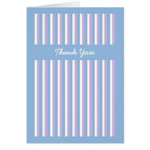 El boda azul de la lila de las rayas azules del tarjeta de felicitación