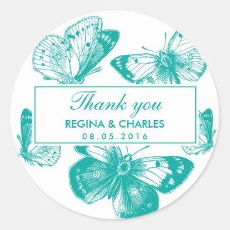 El boda azul de la mariposa del vintage le pegatina redonda