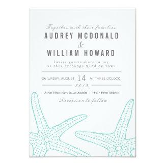 El boda azul de las estrellas de mar invita - al invitacion personalizada