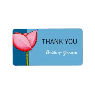 El boda azul de las flores simples le agradece peg etiqueta de dirección
