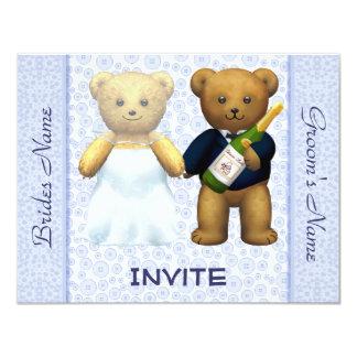 """El boda azul de los osos de peluche invita a invitación 4.25"""" x 5.5"""""""