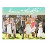 El boda azul de Tiffany Ombre le agradece postal