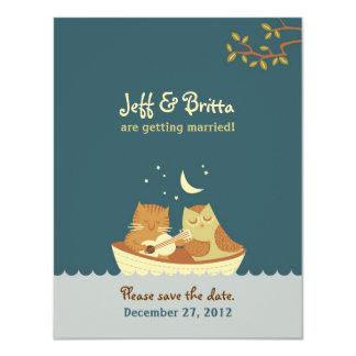 El boda (azul) del búho y del minino ahorra la invitación 10,8 x 13,9 cm