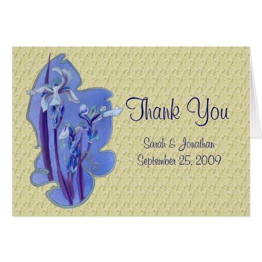 El boda azul del diseño floral del iris le tarjeta pequeña