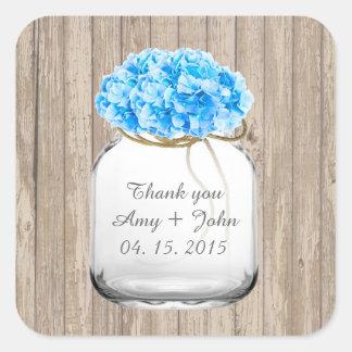 El boda azul del hydrangea del tarro de albañil colcomanias cuadradas personalizadas