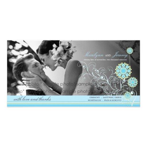 El boda azul del invierno de los remolinos de la plantilla para tarjeta de foto