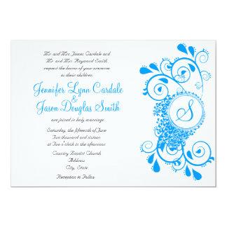 """El boda azul del monograma del Flourish del trullo Invitación 5"""" X 7"""""""