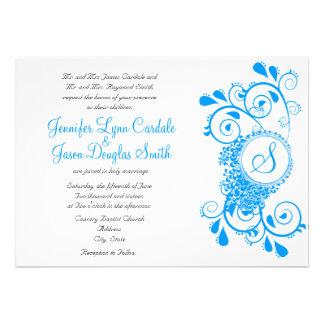 El boda azul del monograma del Flourish del trullo