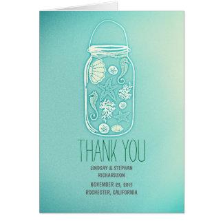 el boda azul del tarro de albañil de los seashells felicitación