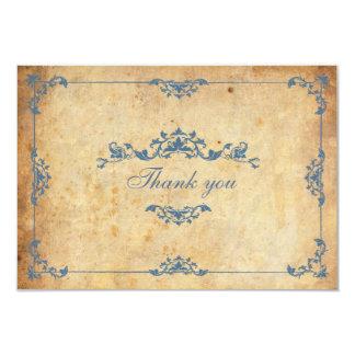 El boda azul floral del vintage le agradece cardar invitación
